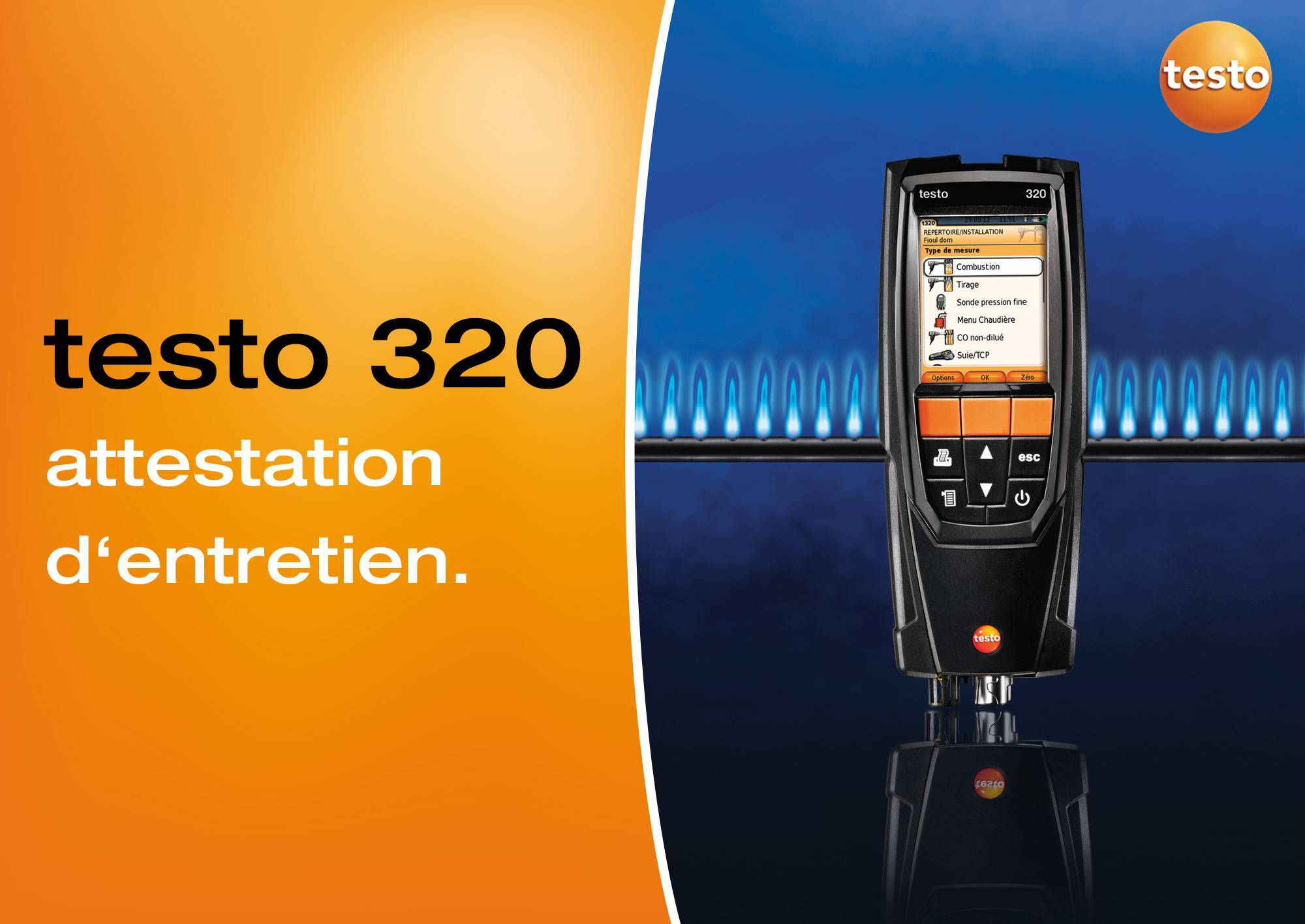 Tutoriel vidéo édition de l'attestation d'entretien de l'analyseur de combustion testo 320.