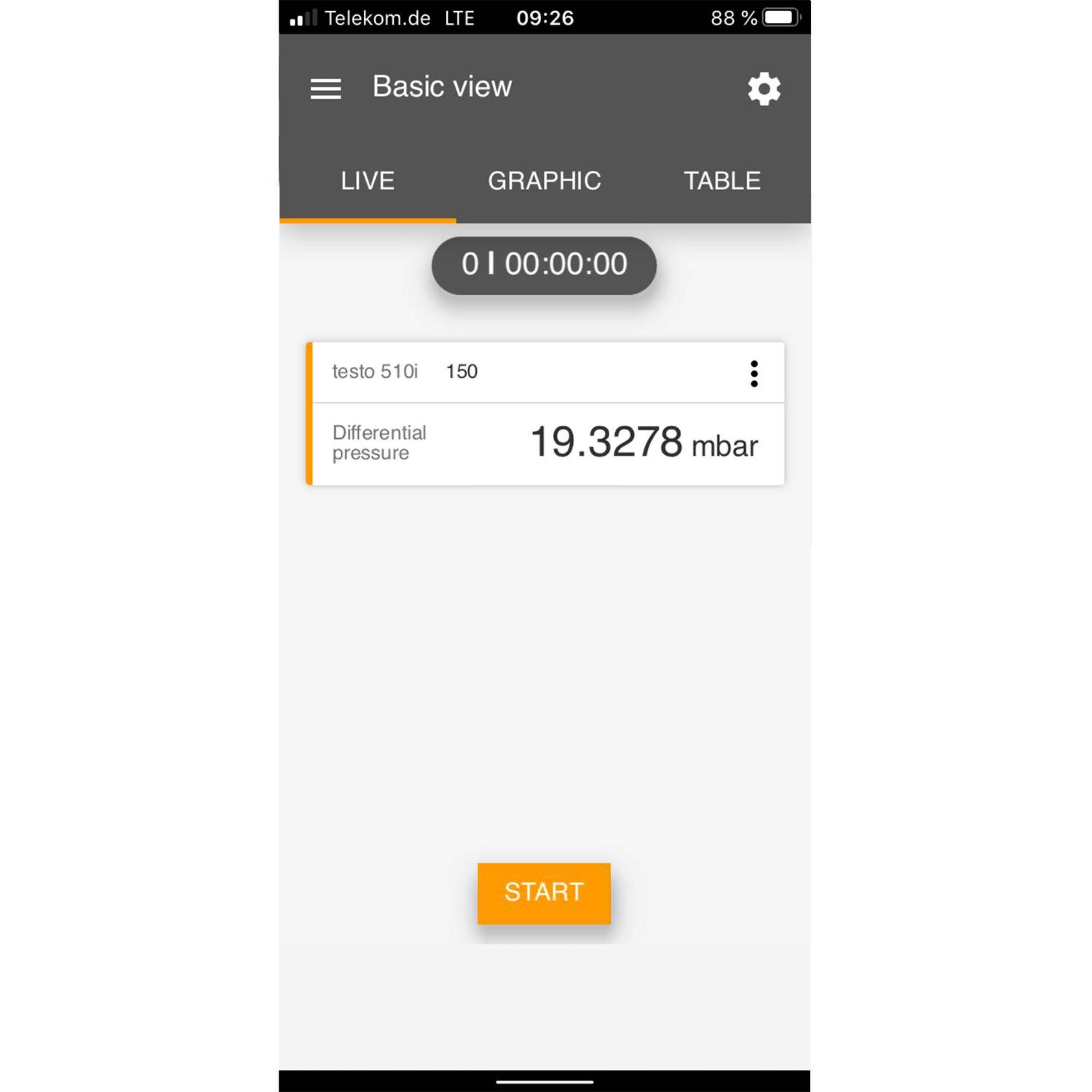 medição de aquecimento da tela testo Smart App