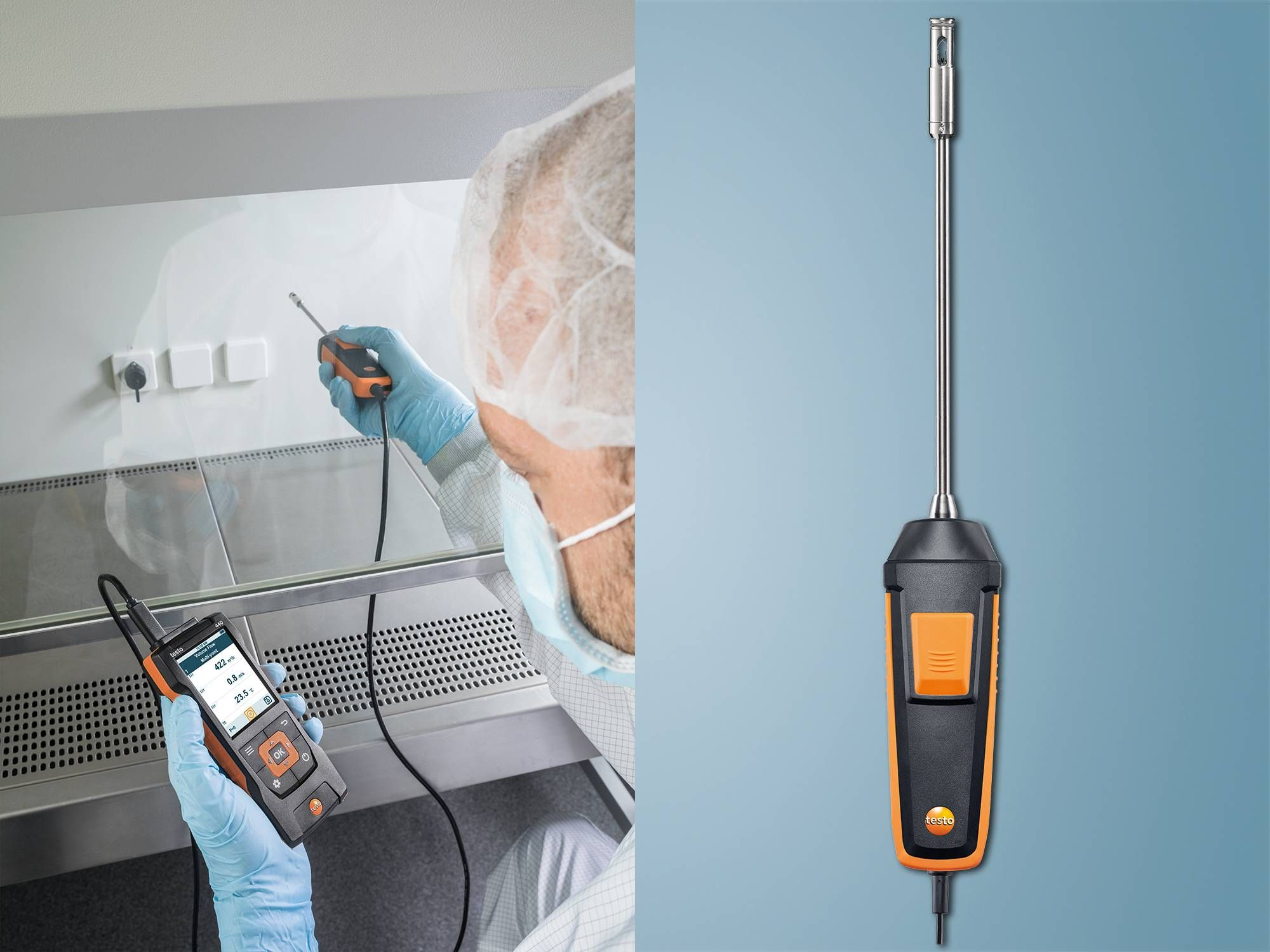 testo 440 fume cupboard probe