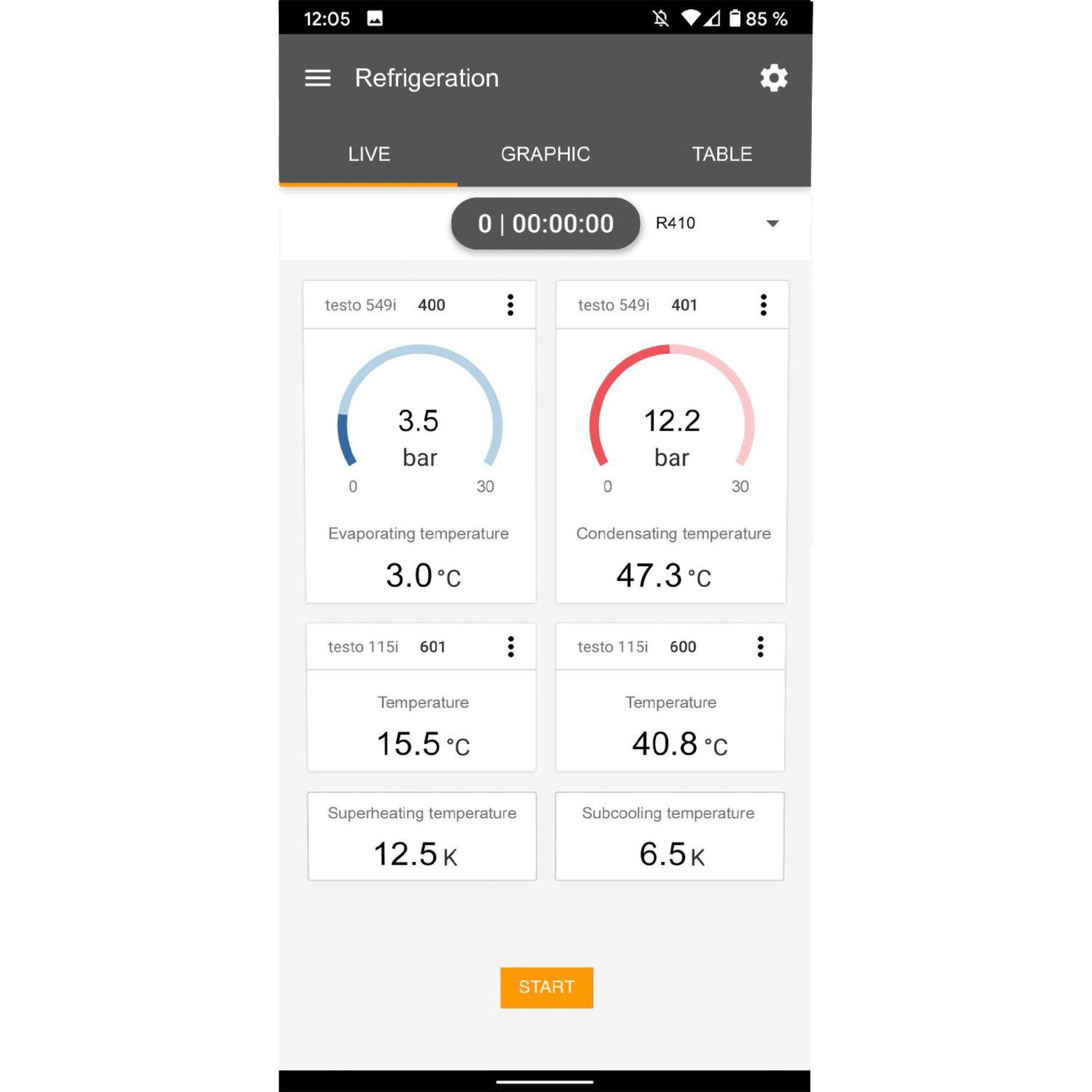 medição de refrigeração da tela testo Smart App