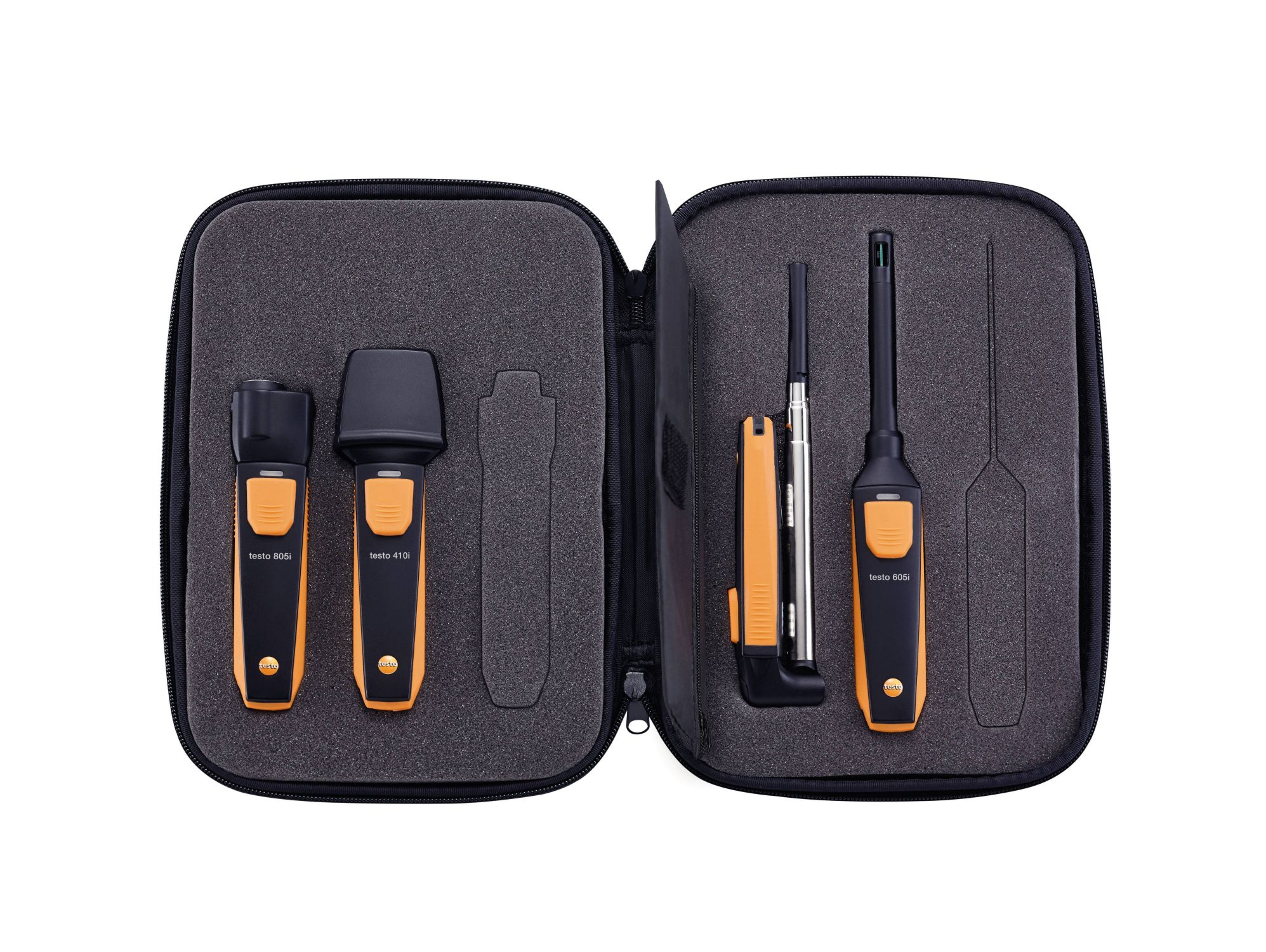 The compact testo Smart Probe VAC set: all important measuring instruments for VAC applications in the handy testo Smart Case.