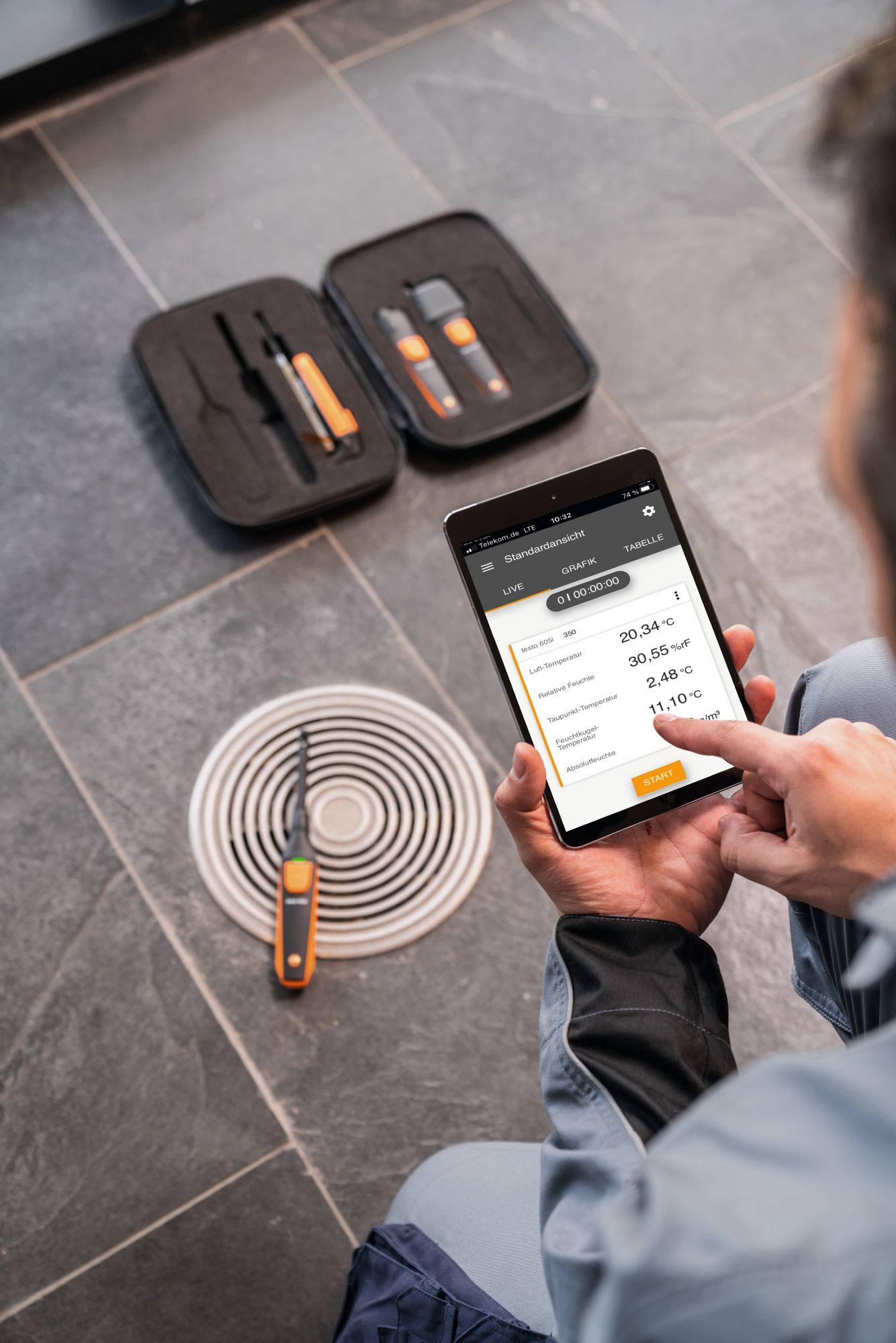 Anwendung testo Smart Probes VAC Kit