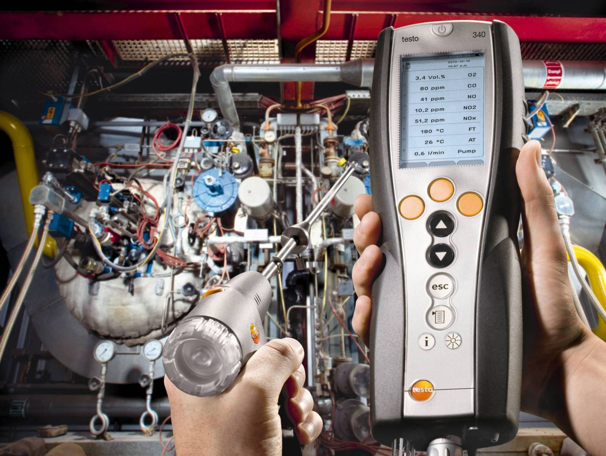 Measuring flue gas with Testo