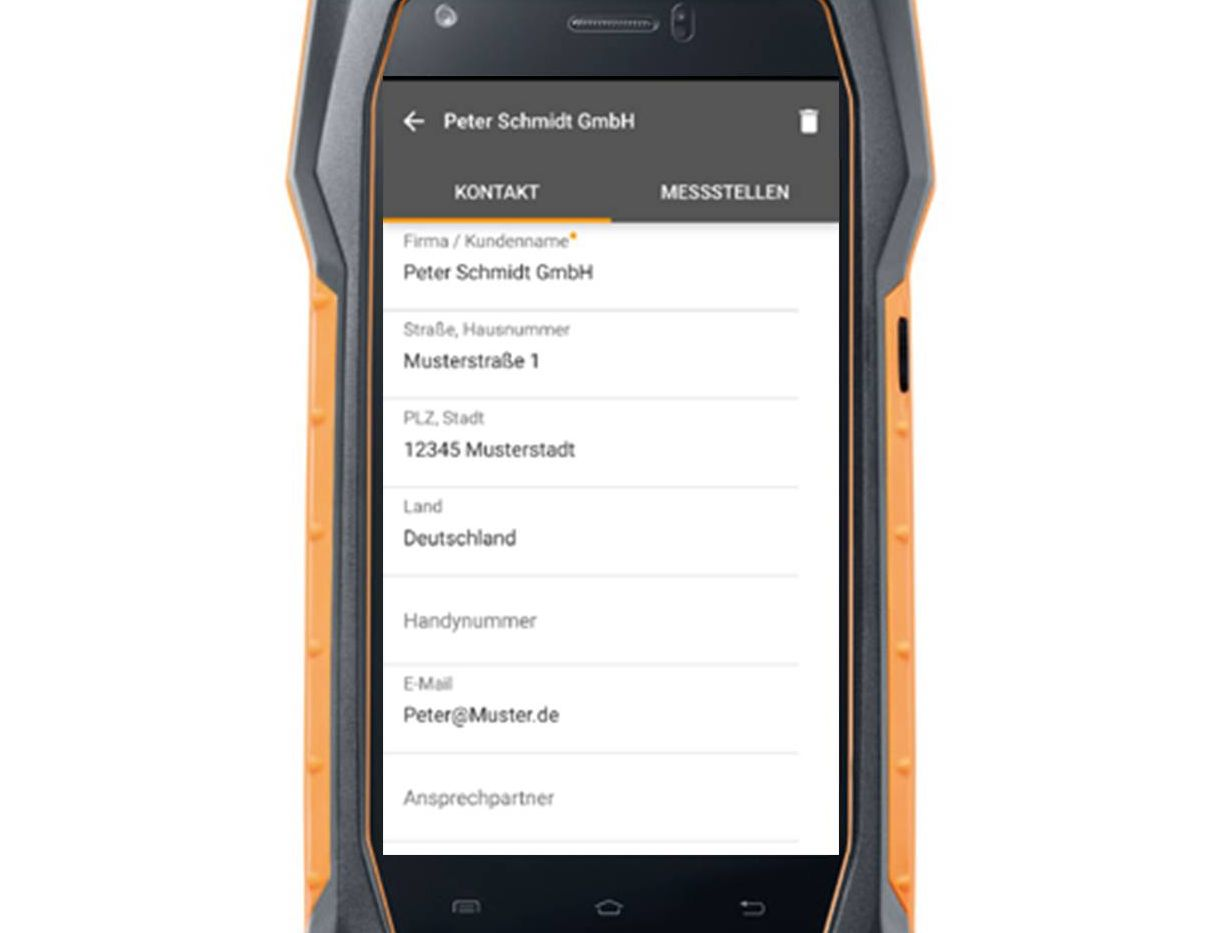 testo 400 menue view customer data