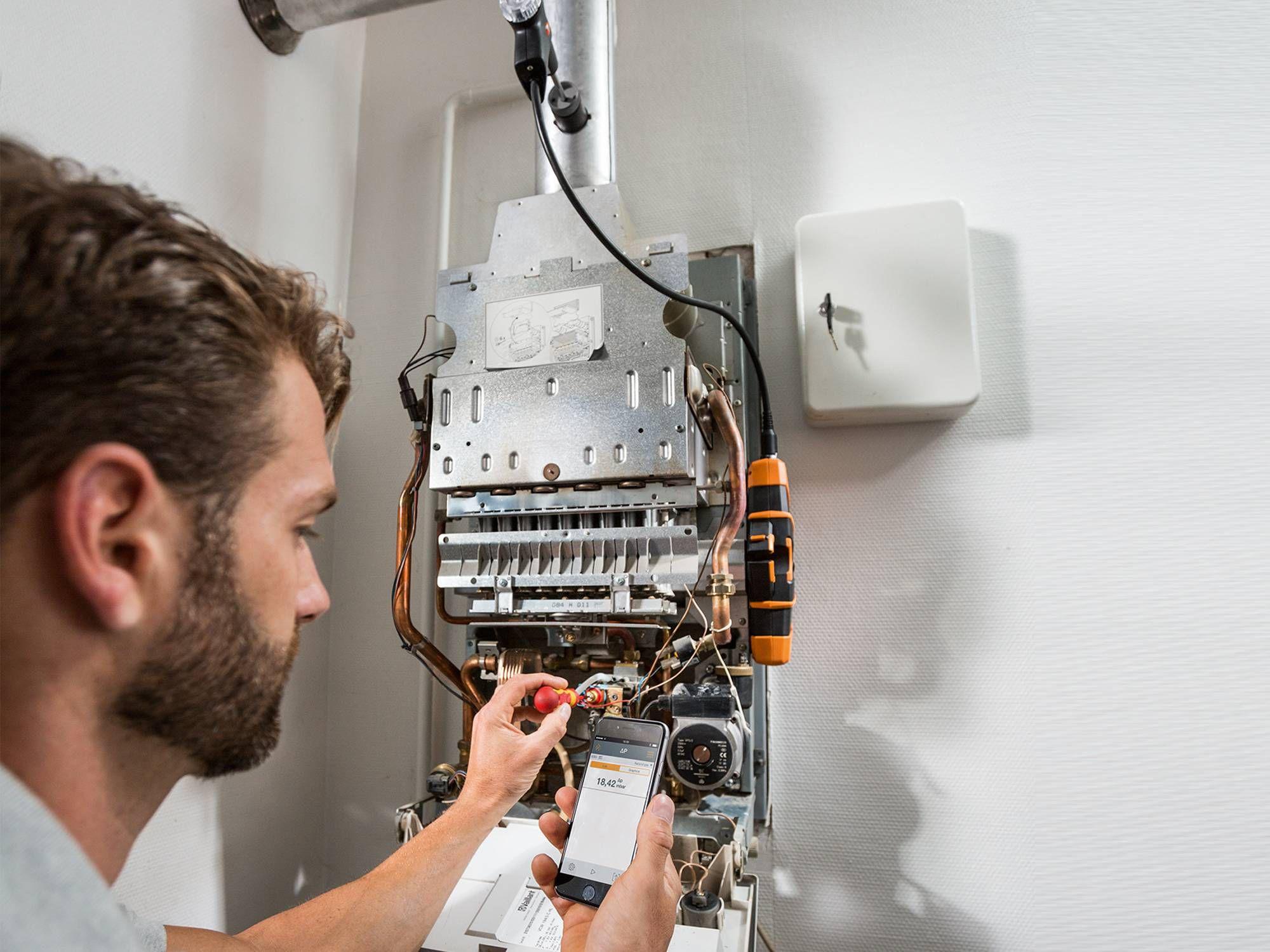 Setting work with the testo 330i flue gas analyzer