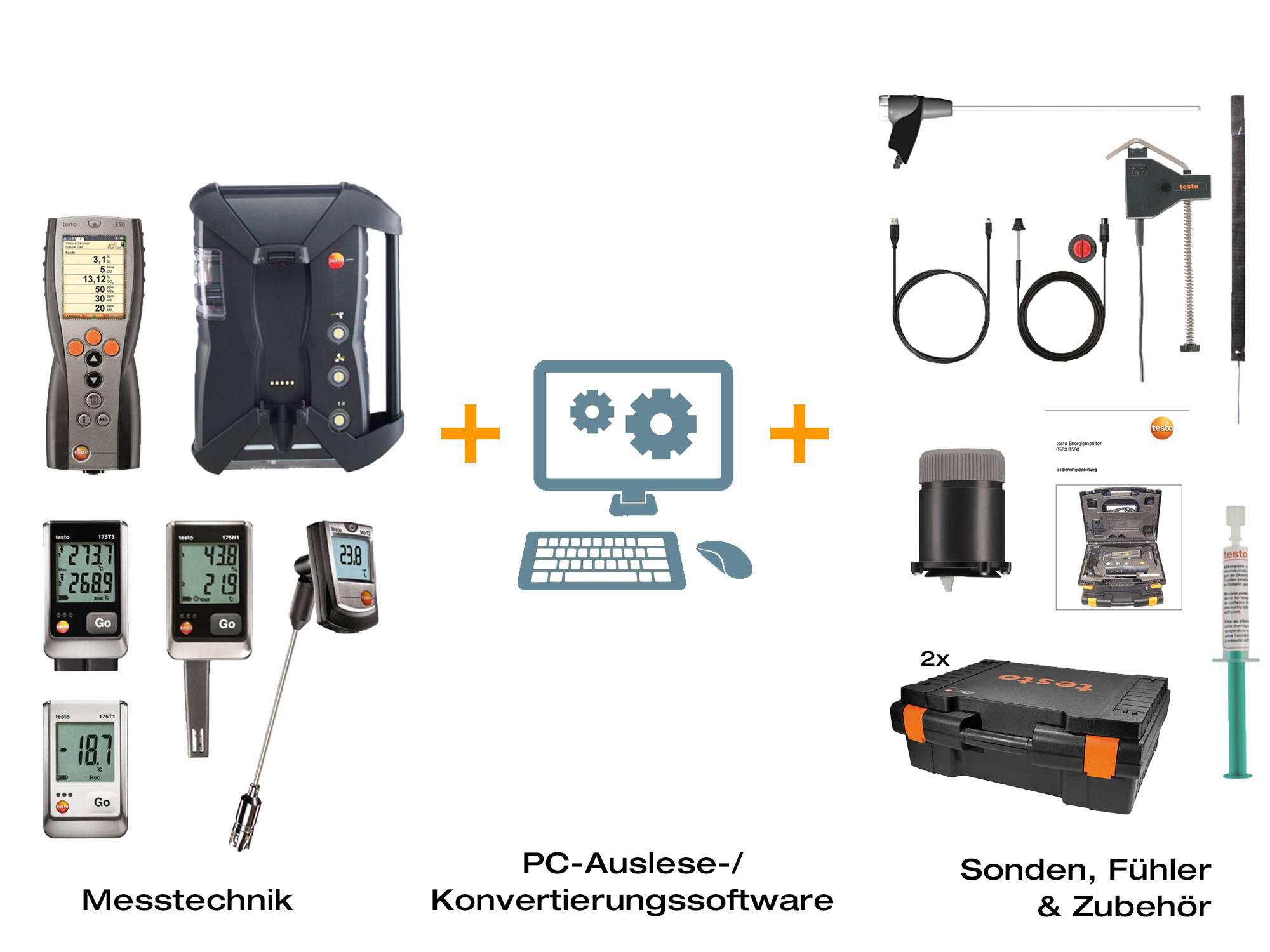 testo 350 Energiemonitor-Set Komponenten