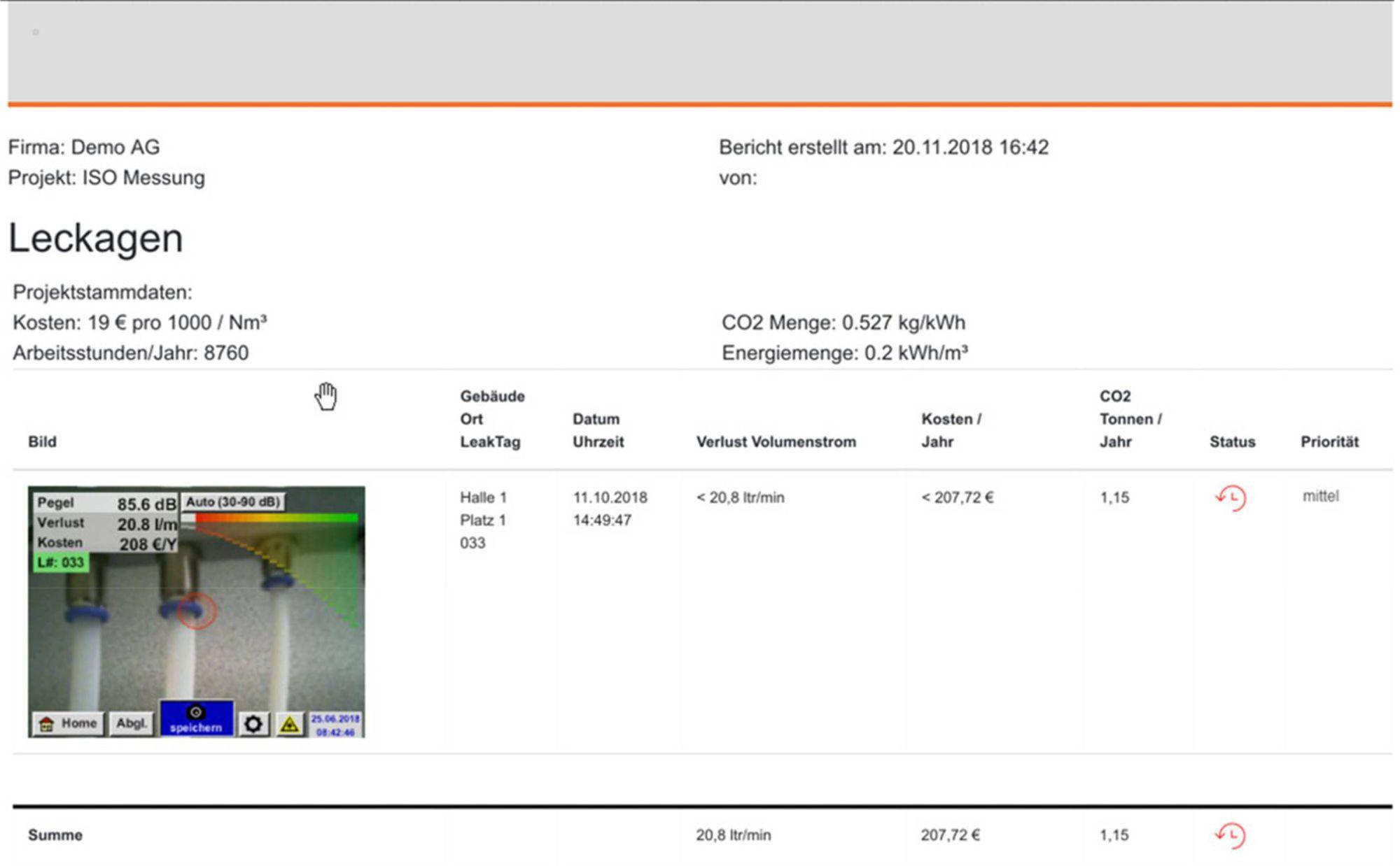 testo Sensor LD pro Beispiel Bericht