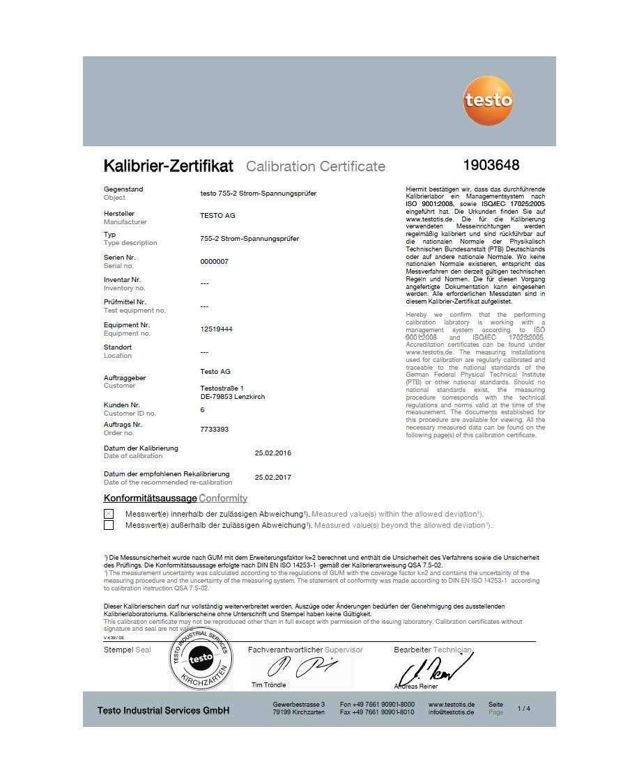 ISO calibration certificate for current/voltage testers