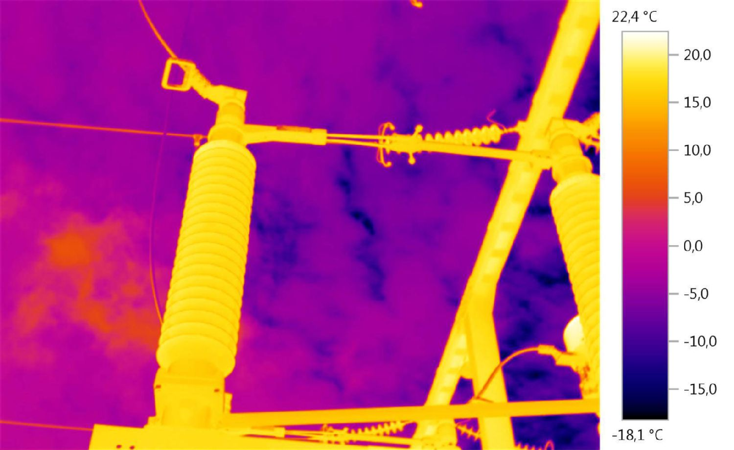 Thermal image overhead power lines