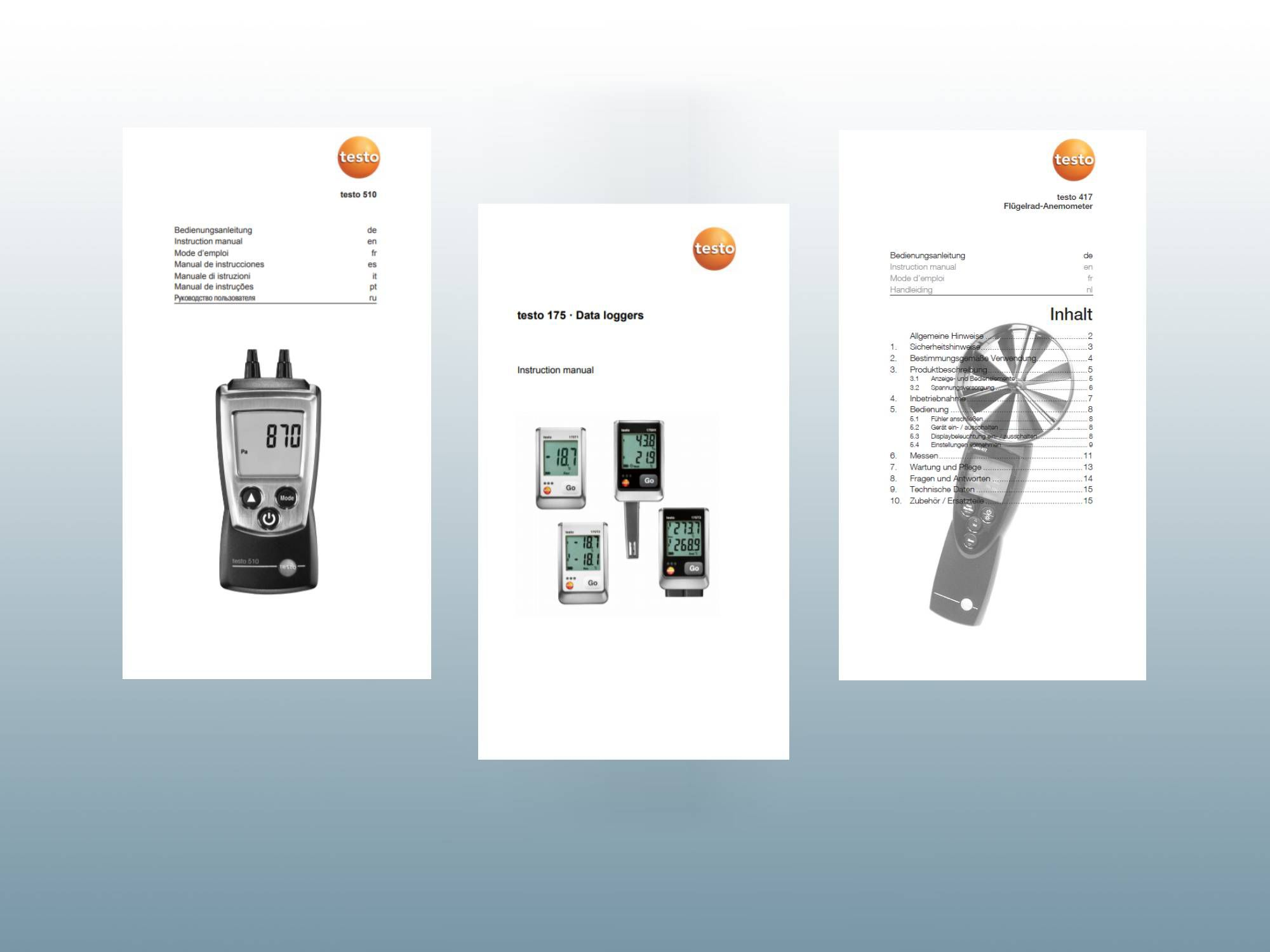 Instruction manuals for Testo products