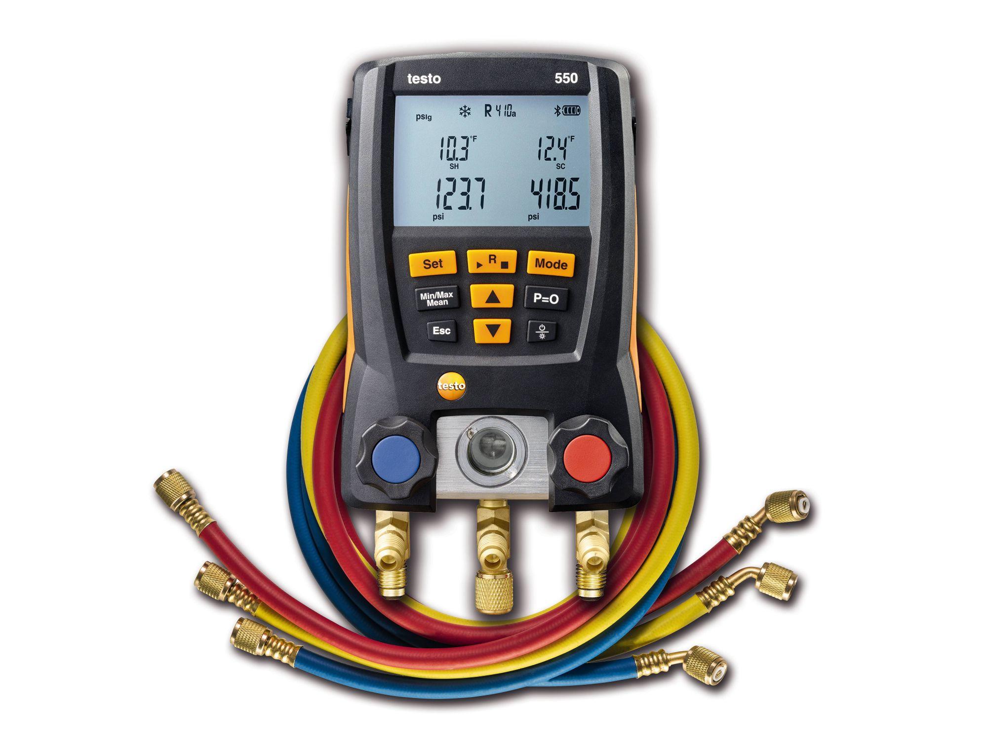 Testo 550 Refrigeration Digital Manifold Meter Kit 0563 1550 with Clamp Probes