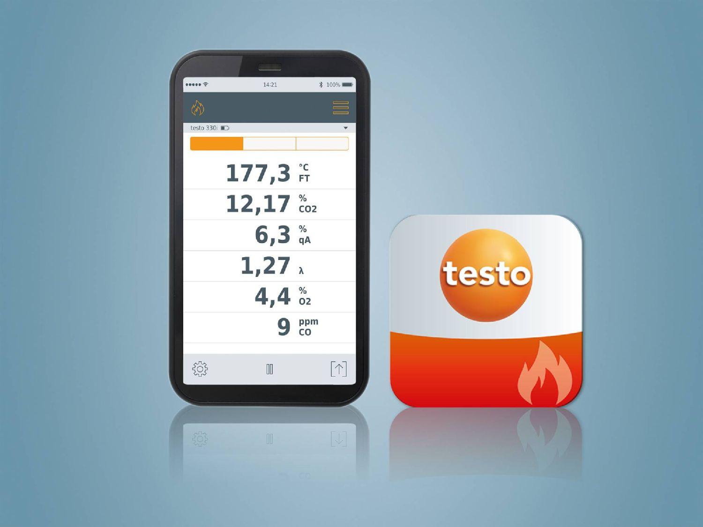 testo 330i App és testo Füstgáz (Combustion) App