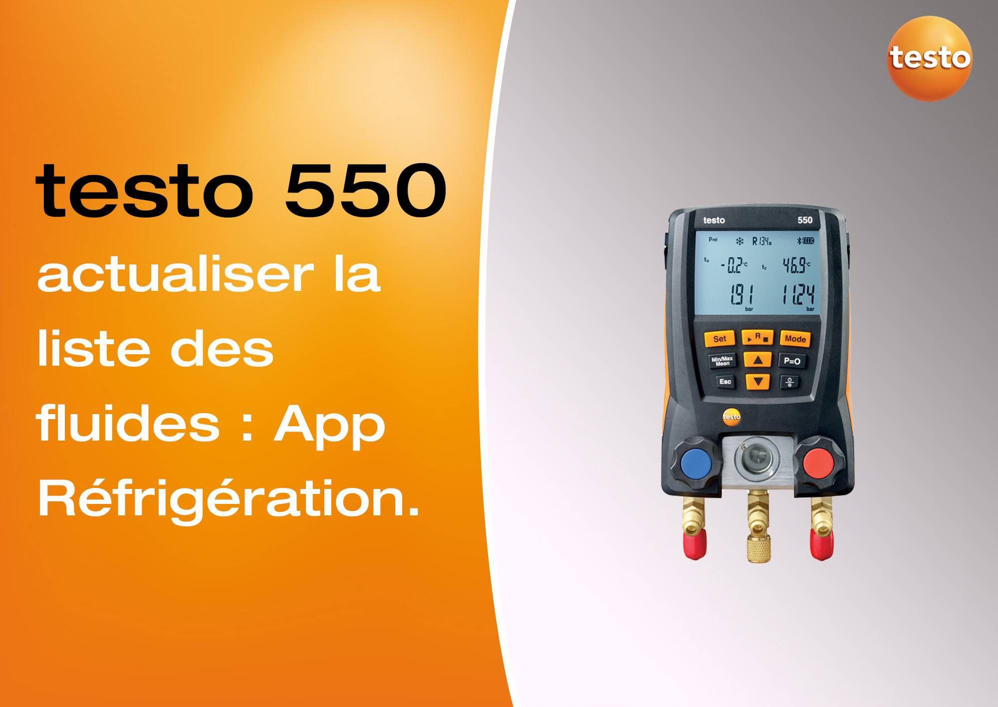 Mise à jour des fluides frigorigènes avec l'App Réfrigération manomètre testo 552