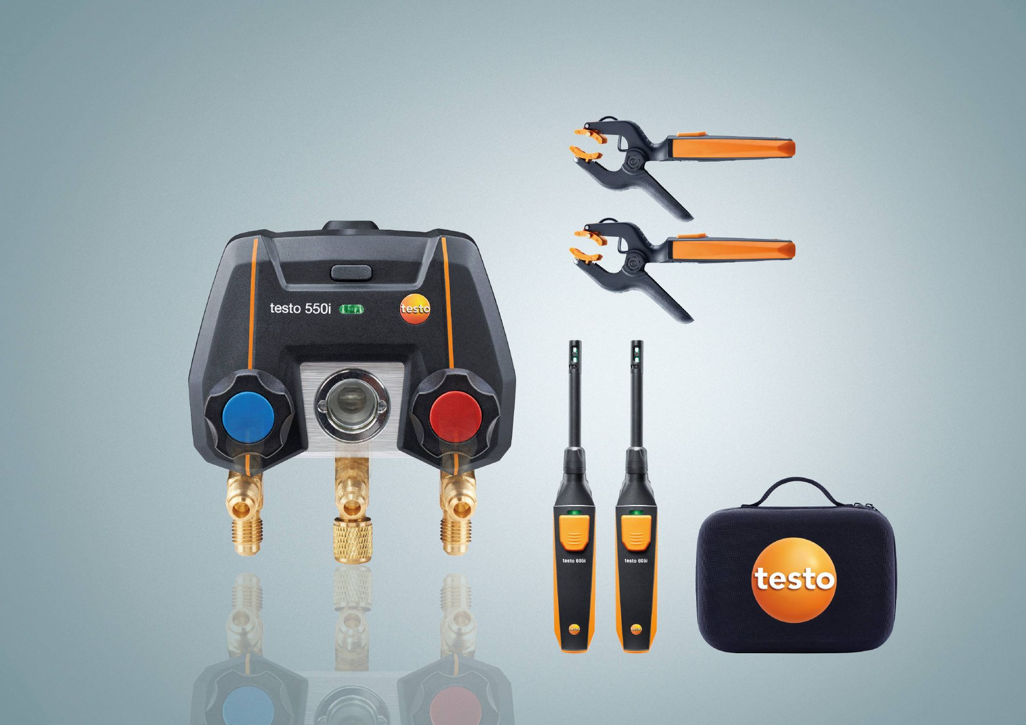 testo 550i Smart Kit - App operated Manifold with wireless temperature probes / micron gauge / thermohygrometers