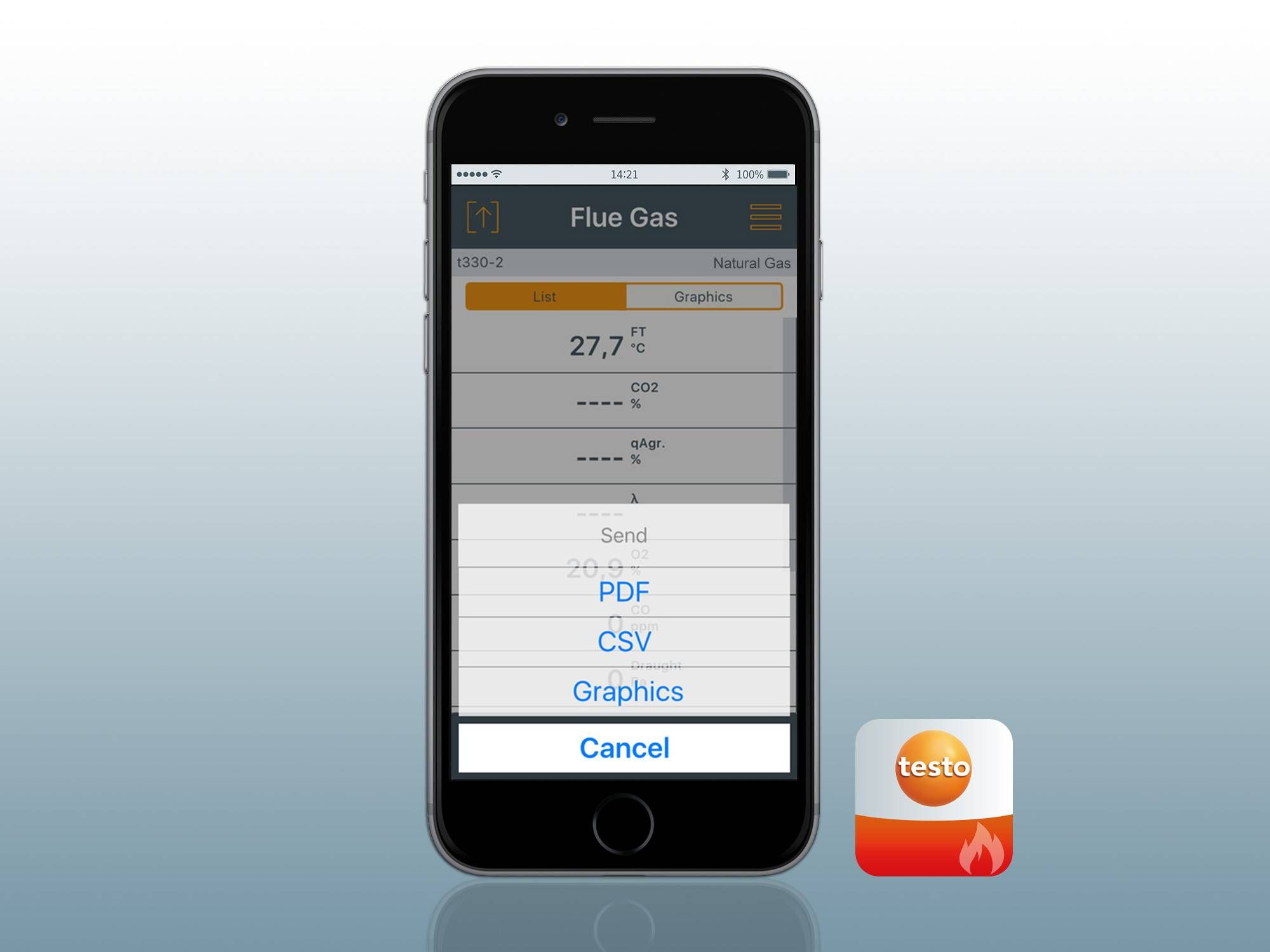testo flue gas App and testo 330i App