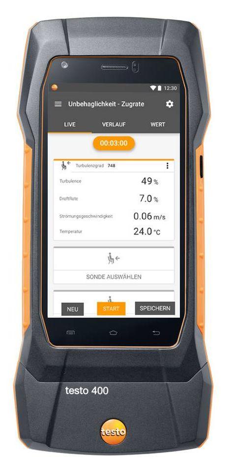 testo 400 Displayansicht Mess-Assistent für die Unbehaglichkeitsmessung