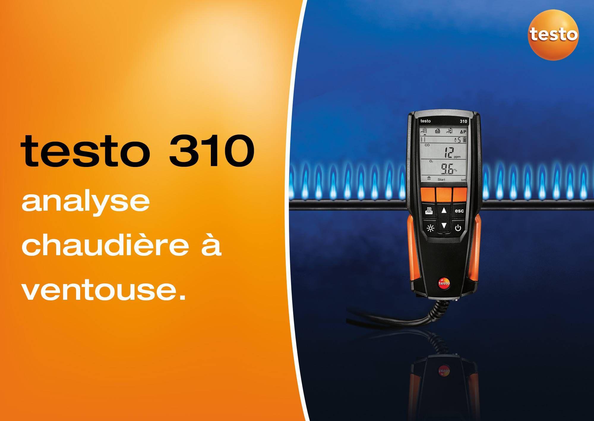 tutoriel vidéo analyse de combustion chaudière ventouse testo 310