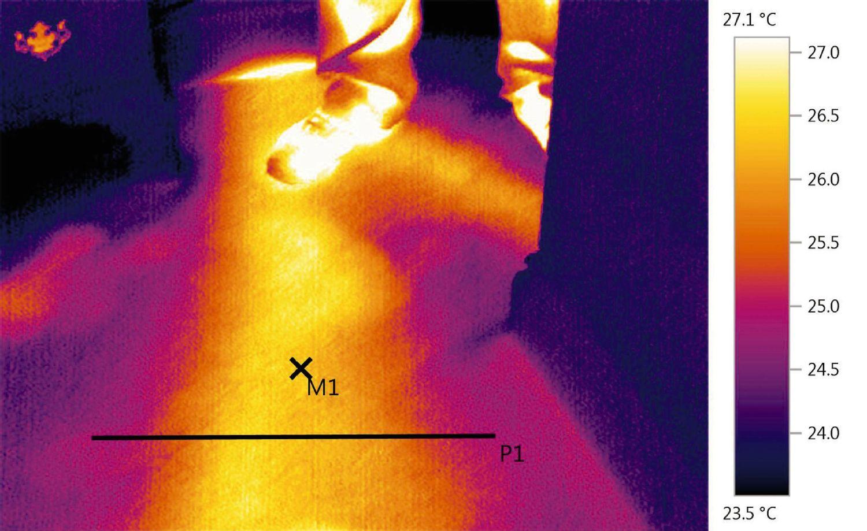Mit der Wärmebildkamera lässt sich der Leckage- und damit der Reparaturbereich eingrenzen