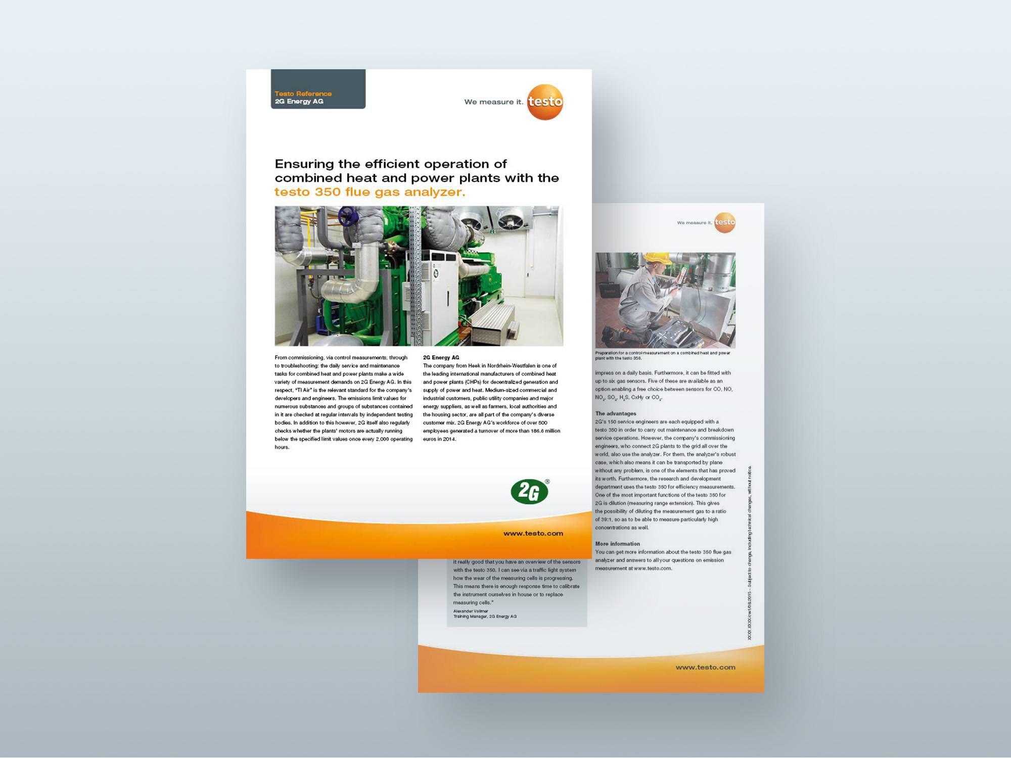 A testo 350 füstgázelemző rendszer a 2G Energy AG vállalatnál
