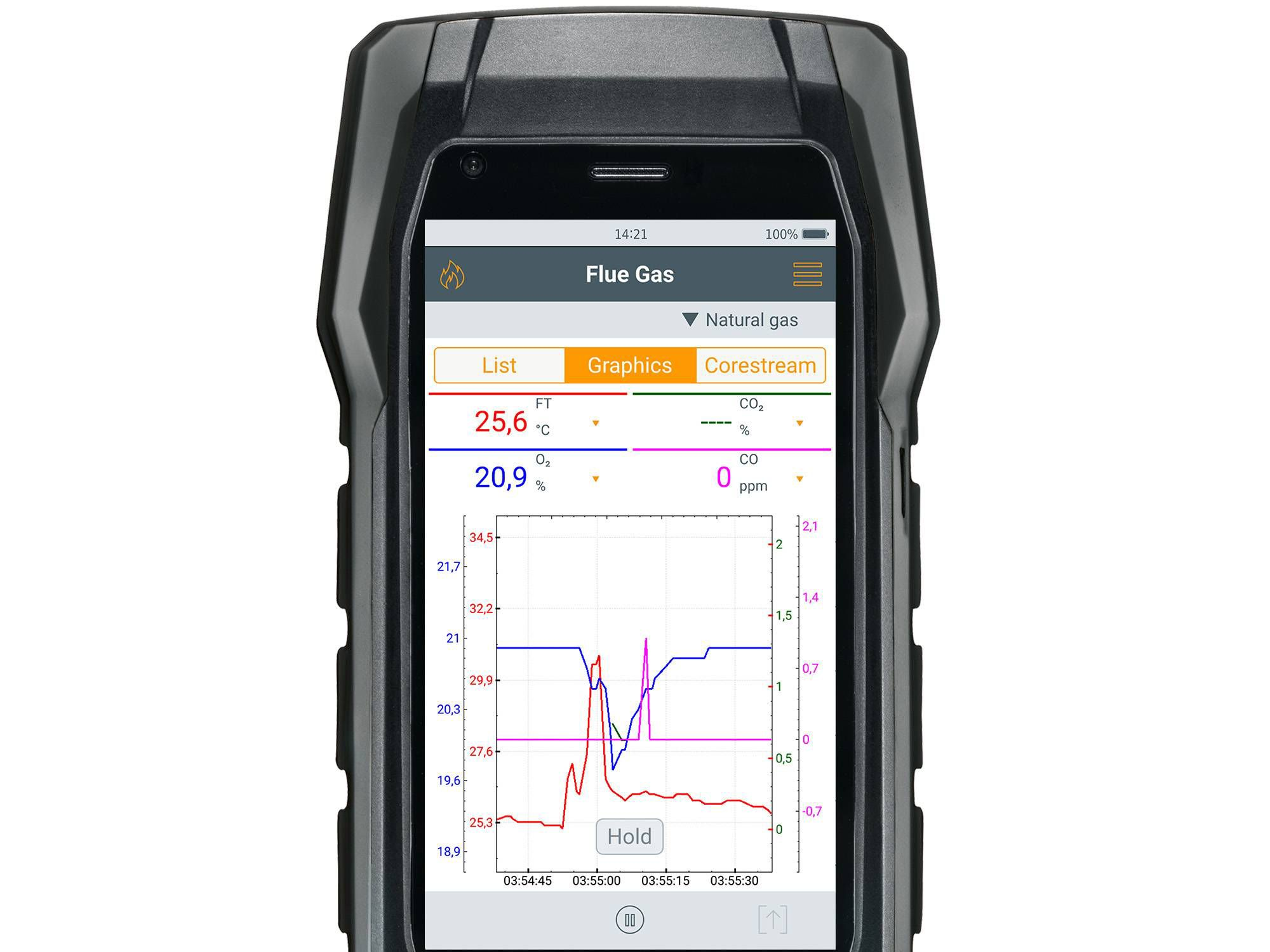 testo 300 flue gas measurement graphic