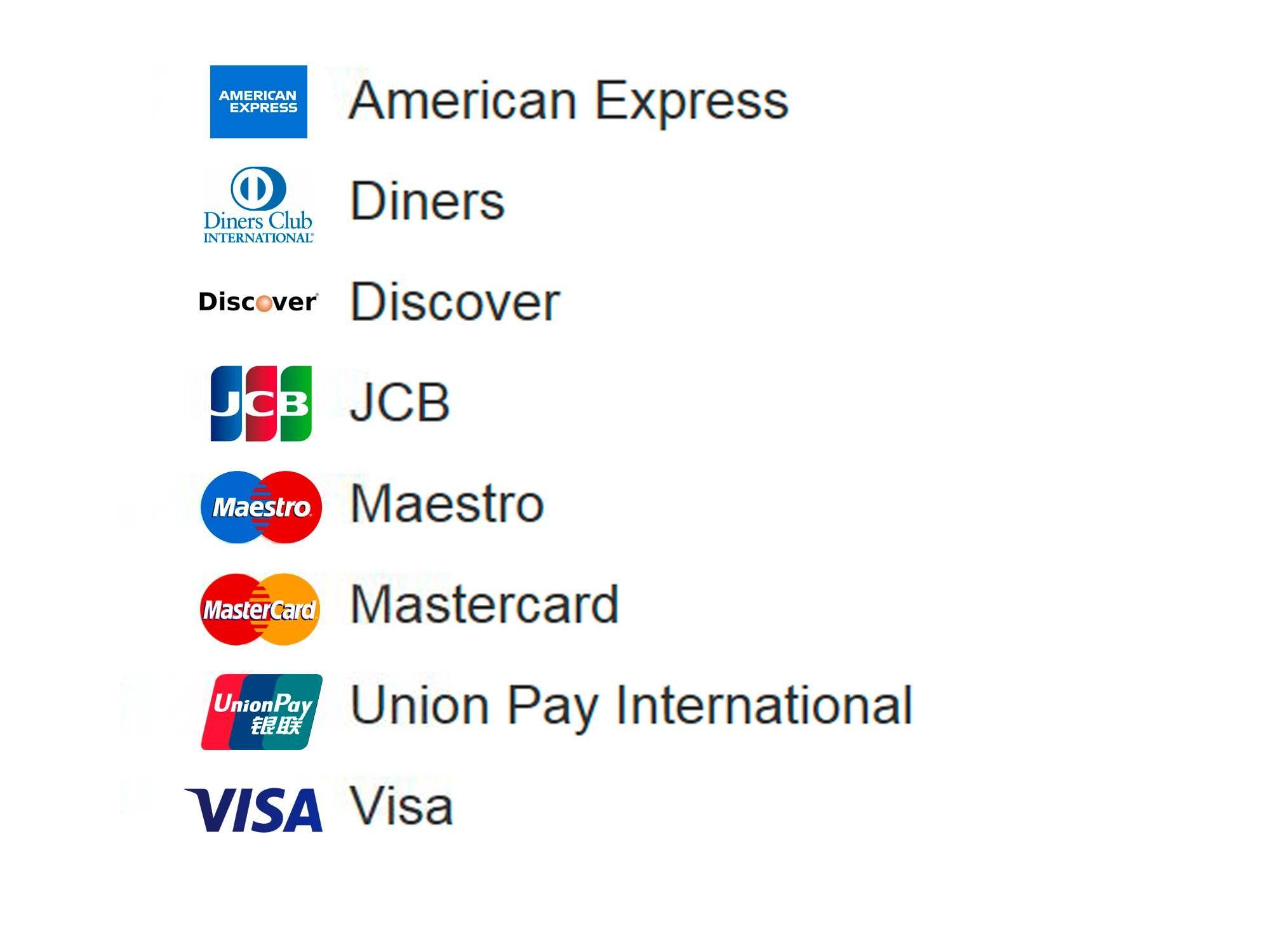 Tarjetas de crédito para el pago en la tienda online Testo