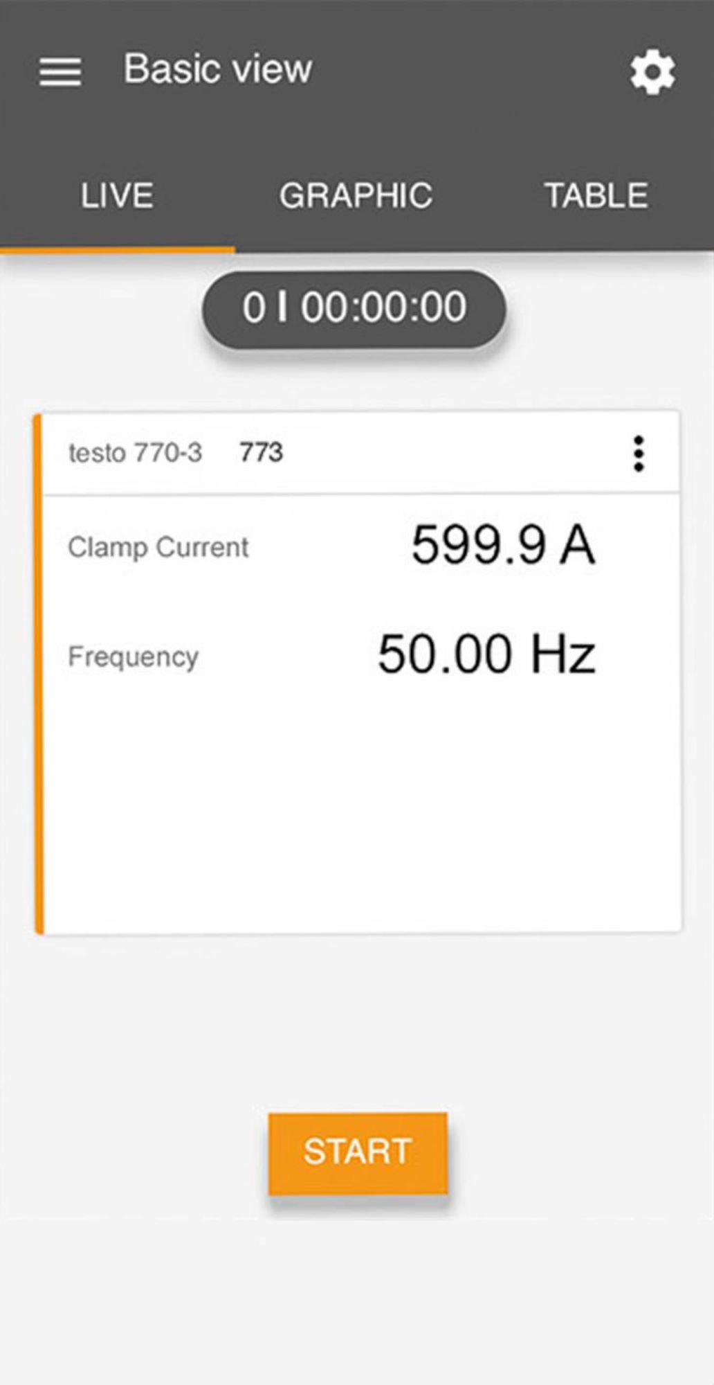 Tela de medição de corrente elétrica do aplicativo Testo Smart
