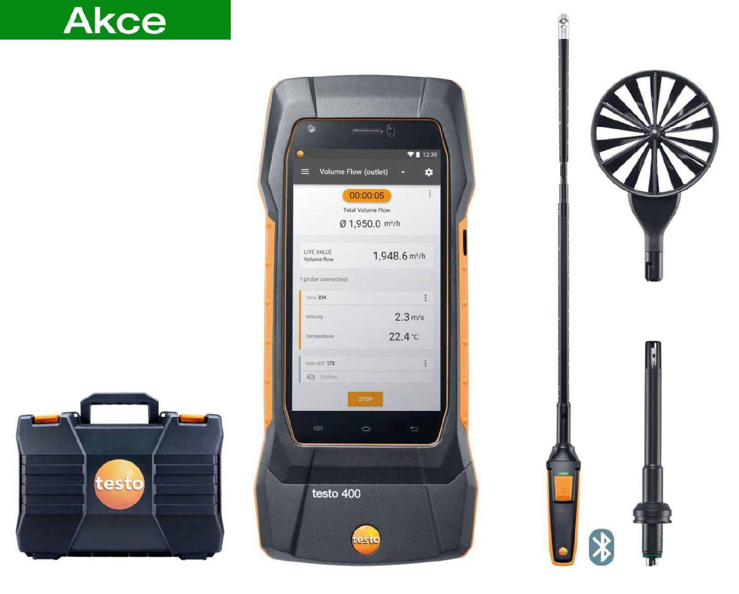 testo 400 air flow kit with 16 mm vane probe