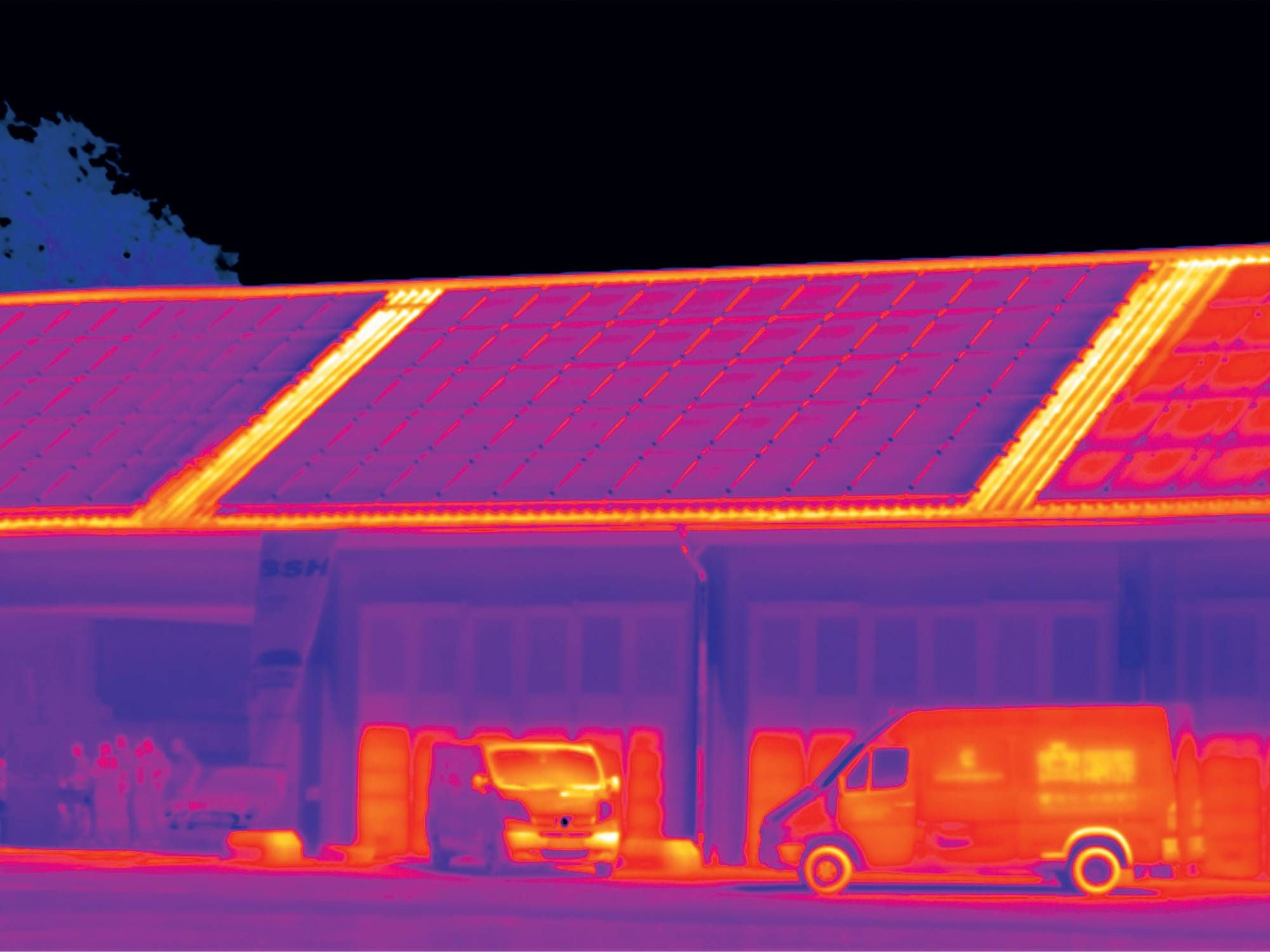 Thermal image of photovoltaic plant on roof