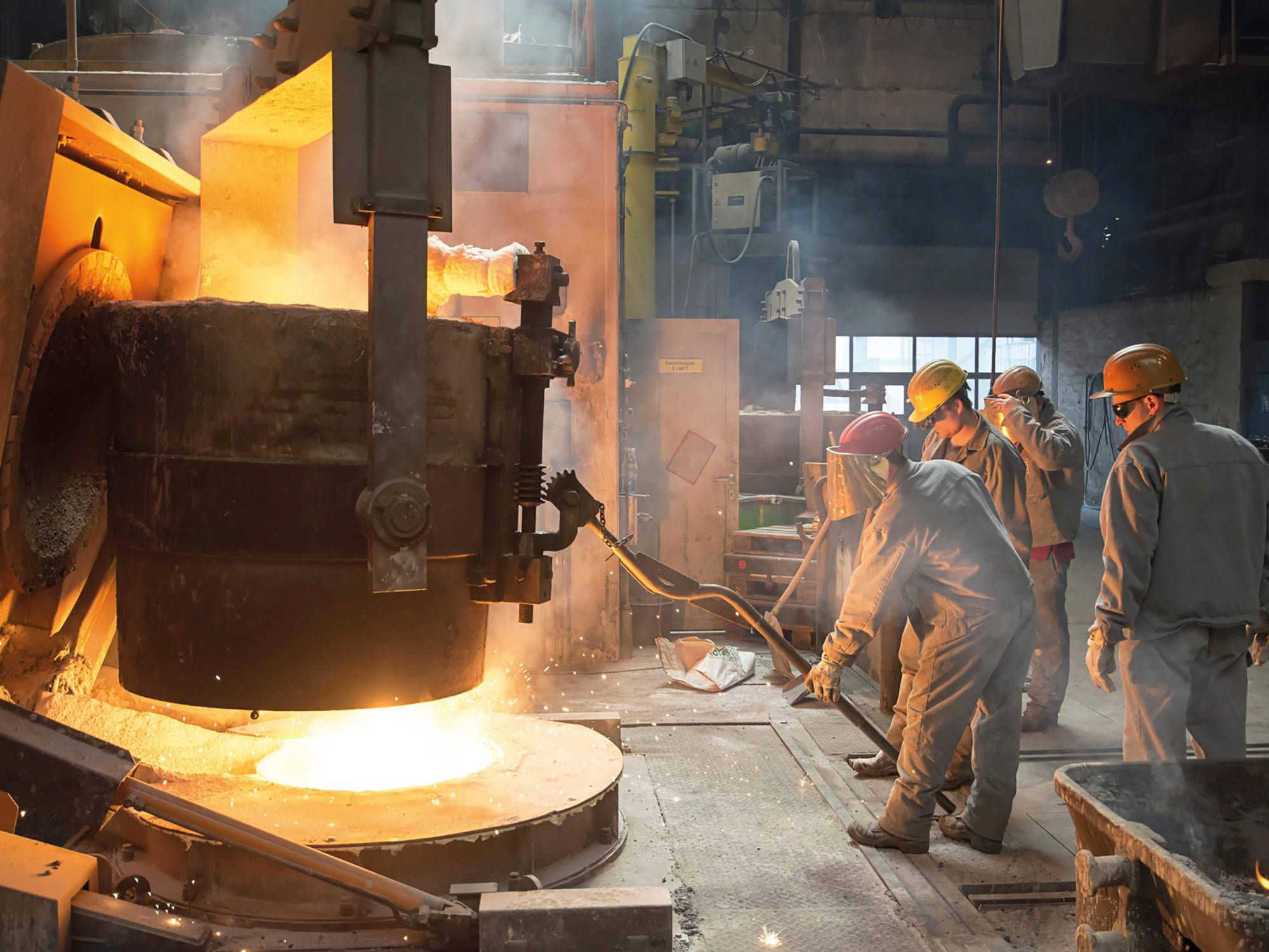Tapping a blast furnace.