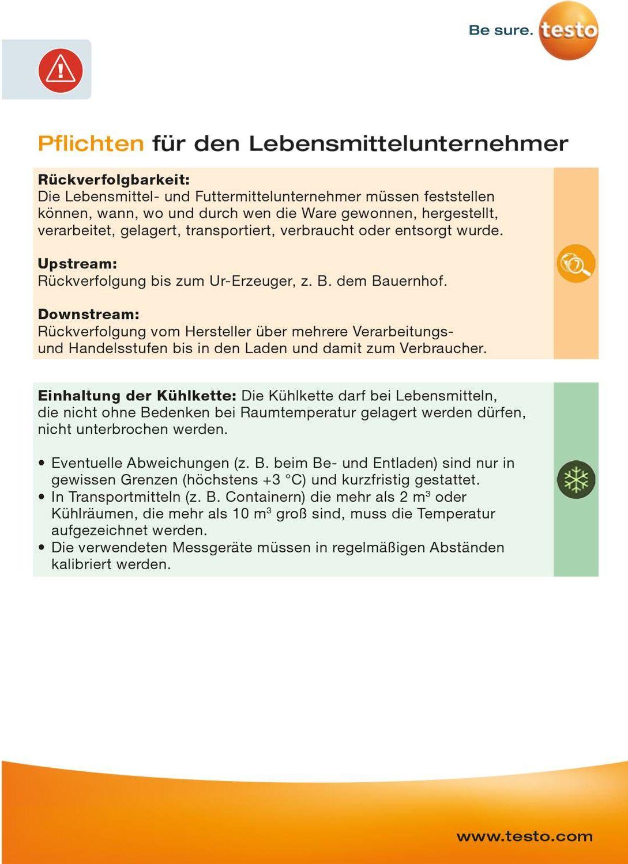 Trainingskarte - Pflichten für Lebensmittelunternehmer