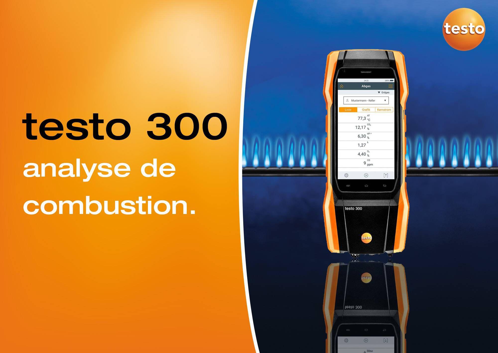 Analyse de combustion avec l'analyseur de combustion testo 300