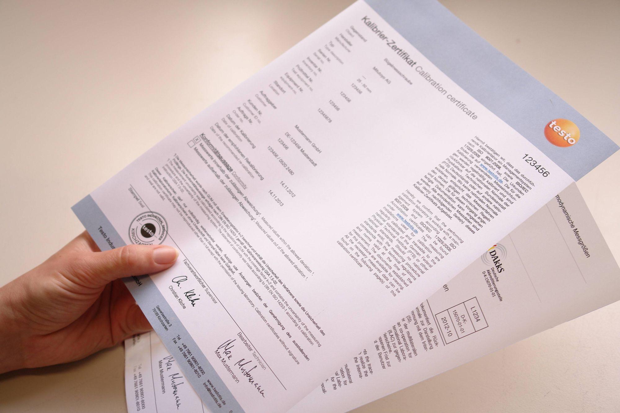 Das Kalibrierzertifikat