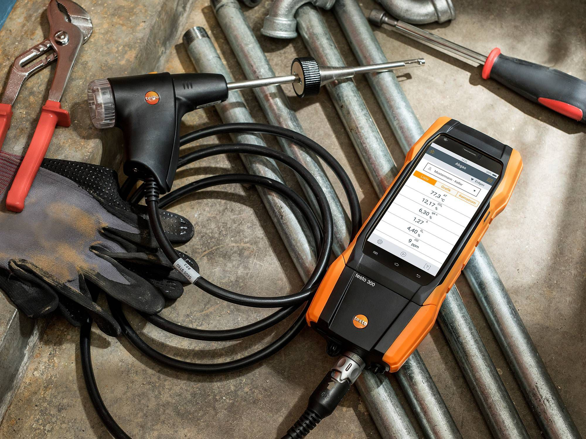testo 300 flue gas analyzer construction