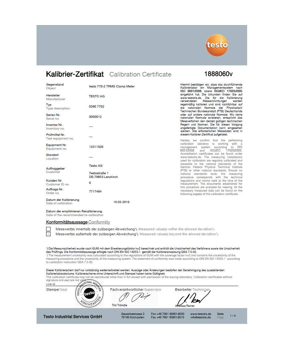 ISO calibration certificate for clamp meters