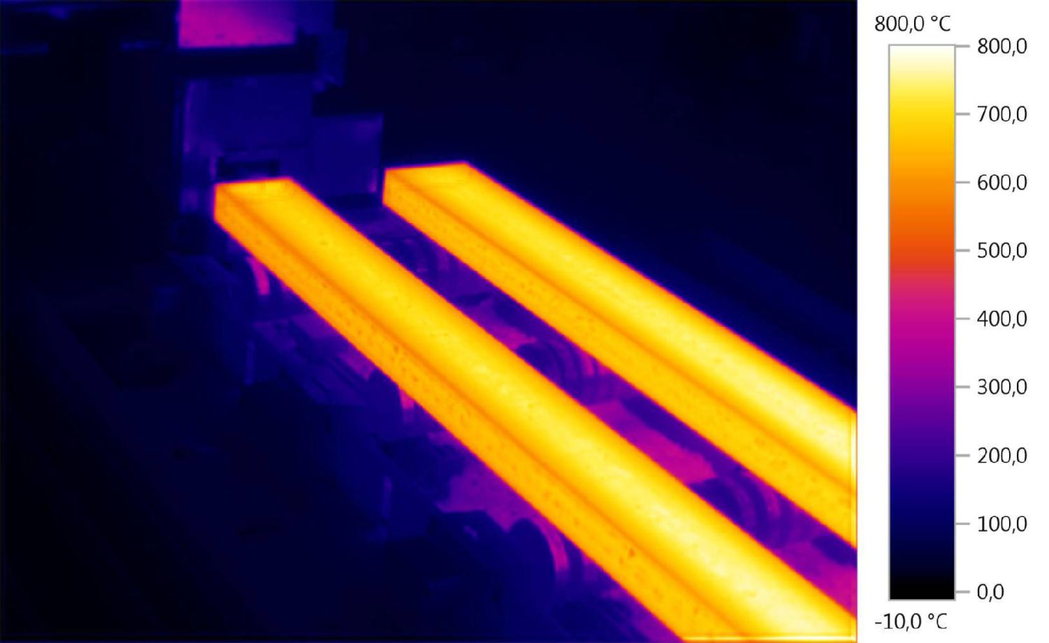 Thermal image of high temperatures in industry