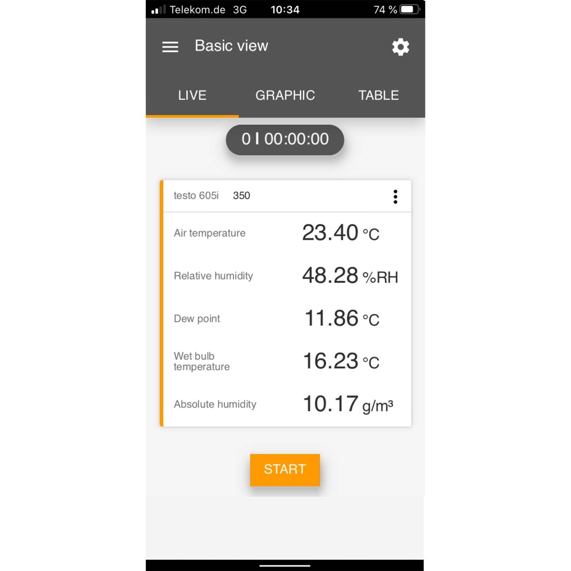 Testo Smart App screen Smart Probes