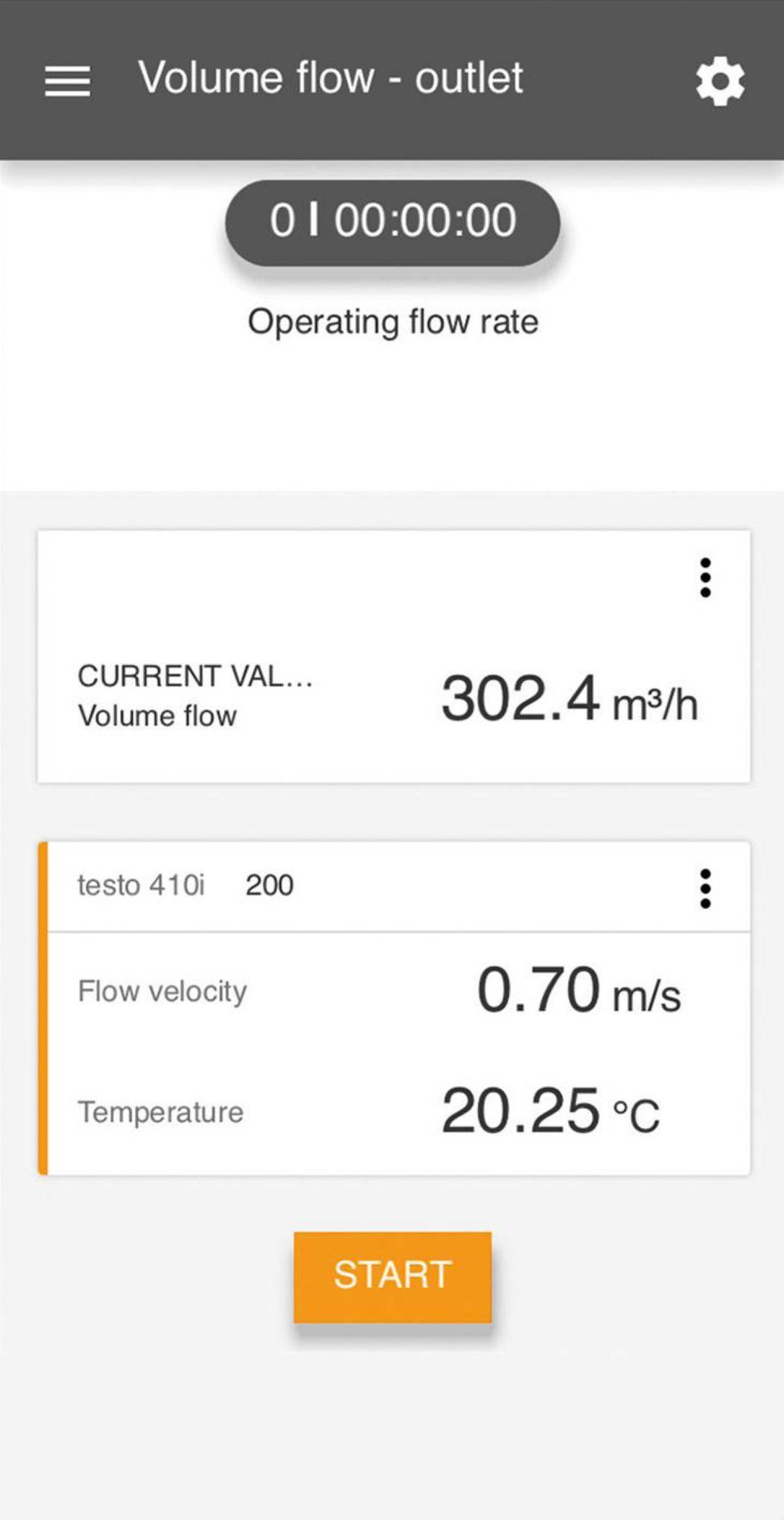 Medição do clima da tela testo Smart App