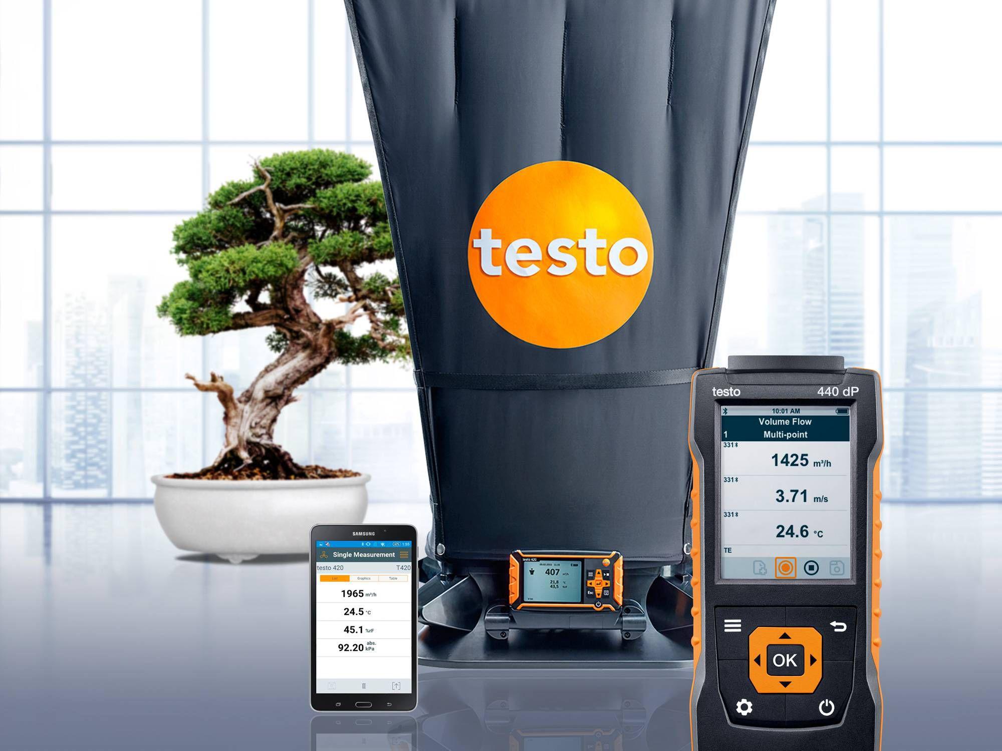 The new testo 440 air velocity & IAQ measuring instrument