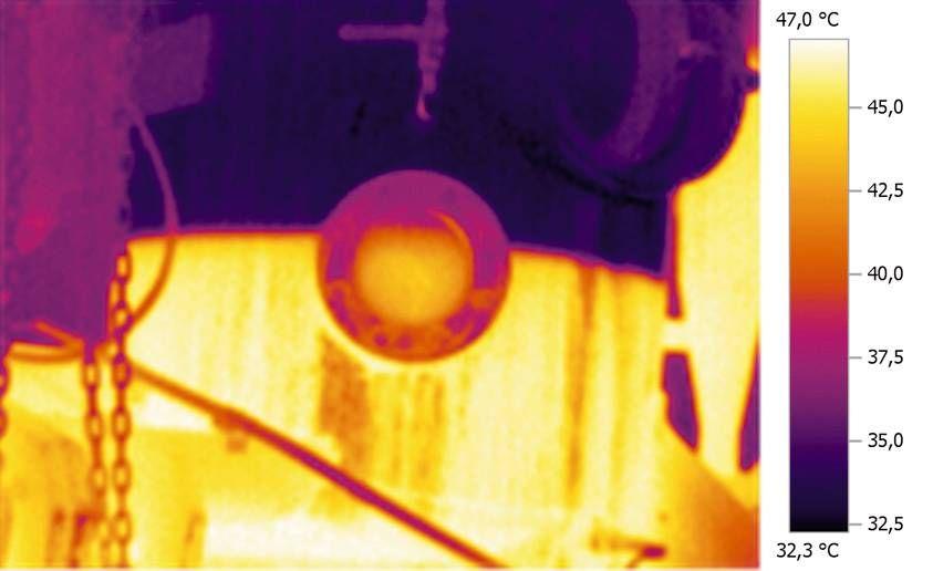 Imágen térmica monitoreo de nivel de llenado