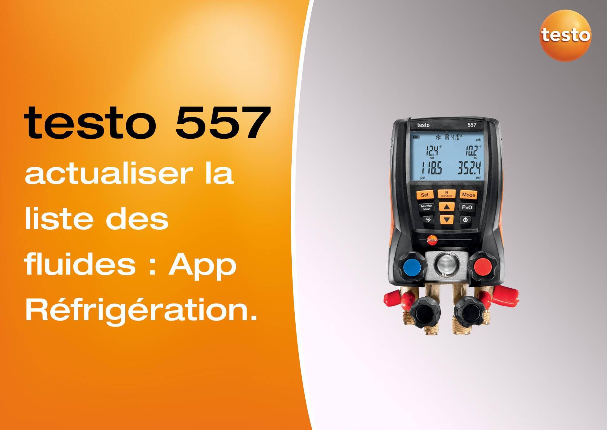 Tutoriel vidéo mise à jour des fluides frigorigènes App Réfrigération manomètre testo 557