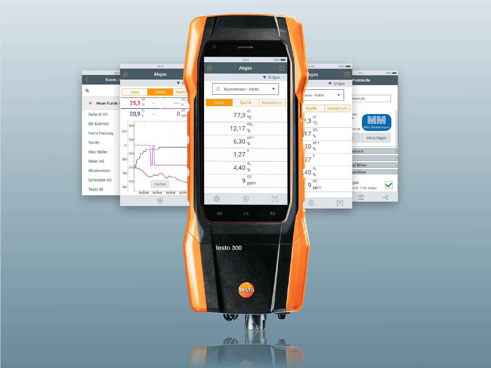 Datenübertragung vom Messgerät auf Smartphone und PC