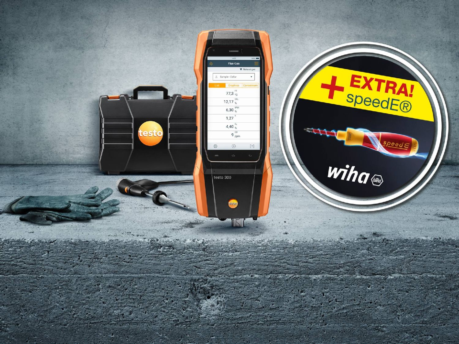 testo 300 promo kit and e-screwdriver set speedE® from Wiha