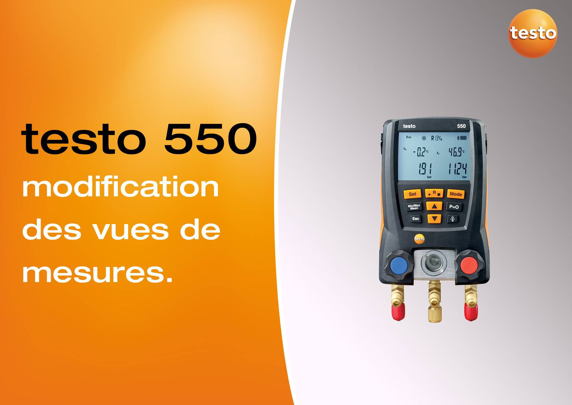 Tutoriel vidéo modification des vues de mesures manomètre testo 550