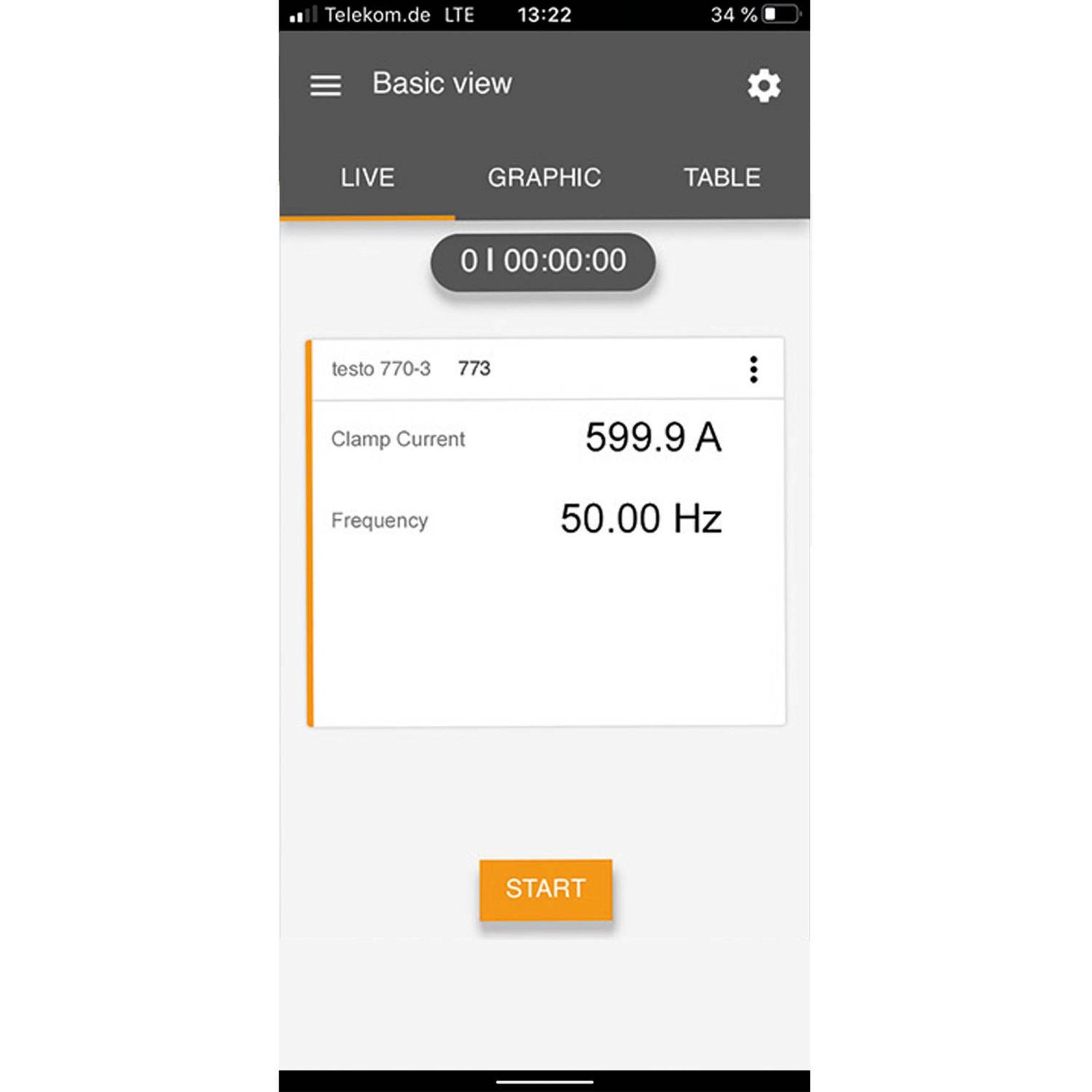 medição de corrente da tela testo Smart App