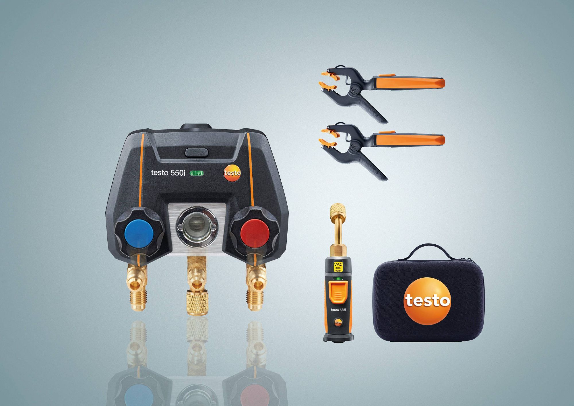 testo 550i Smart Kit - App operated Manifold with wireless temperature probes / micron gauge