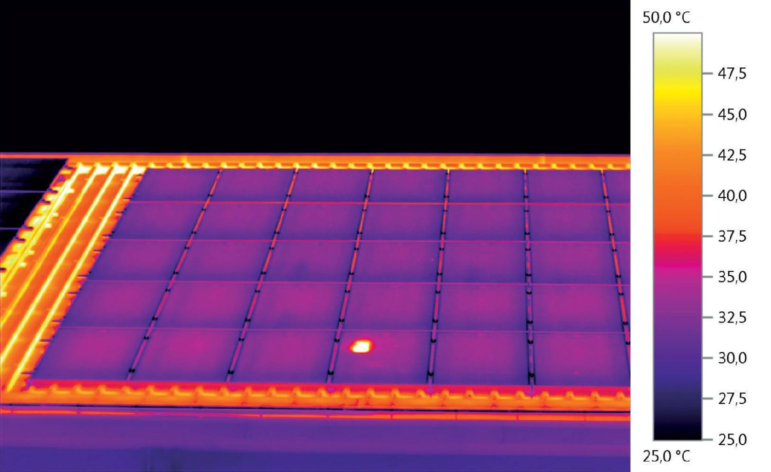 Thermal image of photovoltaic plant with defect
