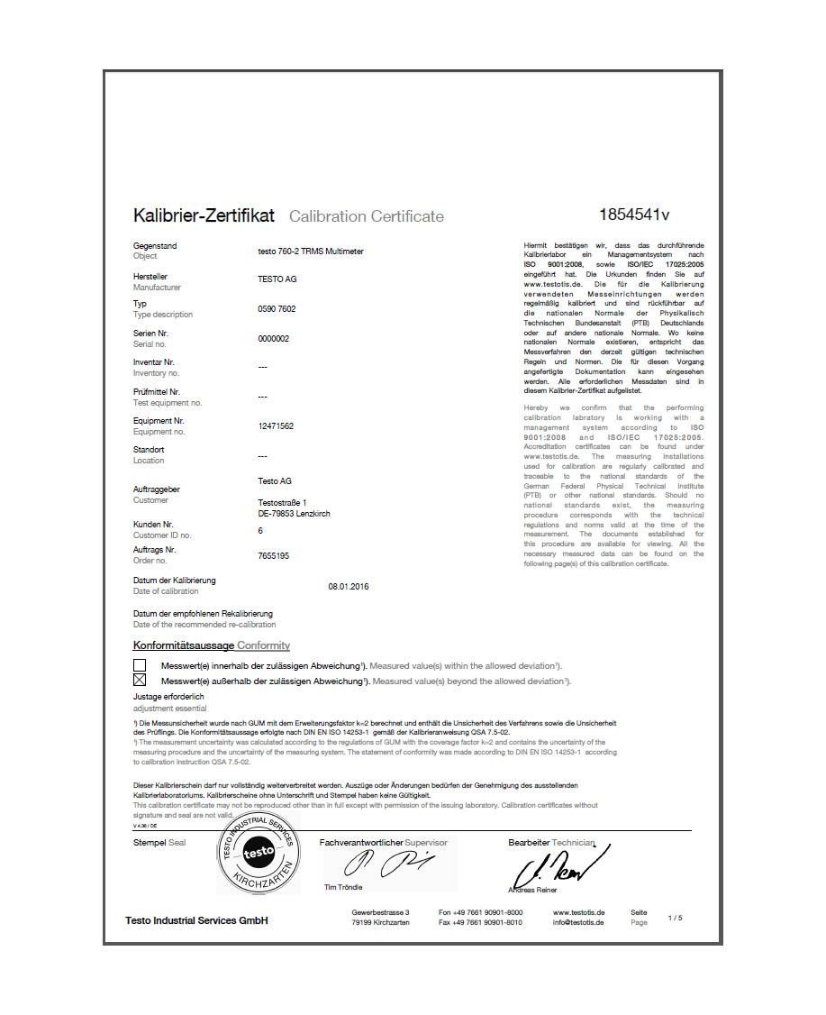 ISO calibration certificate for multimeters