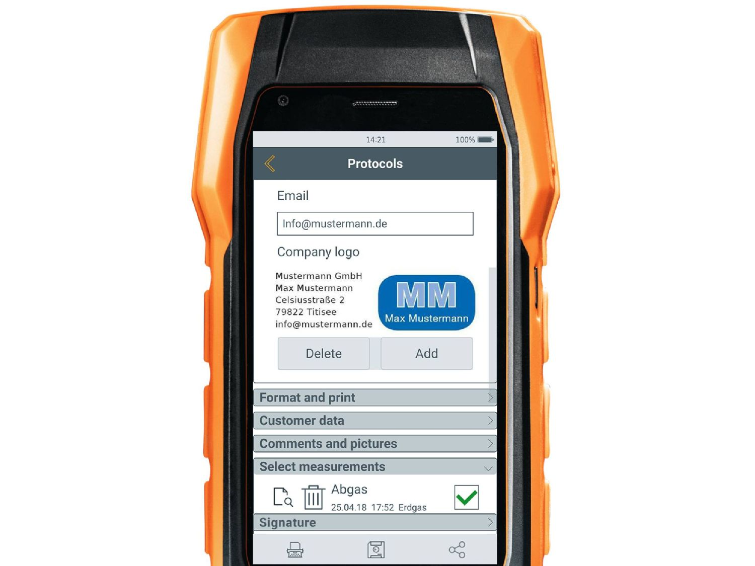 testo 300 flue gas analyzer reports
